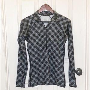 Nike Pro 3/4 Zip Pullover Black & Gray Plaid Sz S